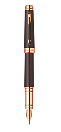 Premier Soft Brown Fountain Pen - Fine 18K solid gold with pink gold flash Nib