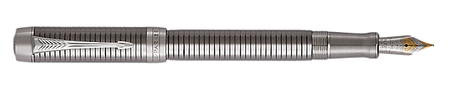 Duofold Prestige Ruthenium Plated  Fountain Pen With Chiselled Pattern & Chrome Trim Fine Nib