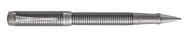 Duofold Prestige Ruthenium Plated  Rollerball Pen With Chiselled Pattern & Chrome Trim Fine Point