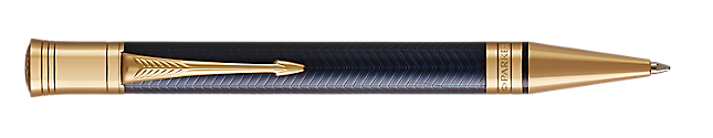Duofold Prestige Blue Retractable Ballpoint Pen With Chevron Pattern & Gold Trim Medium Point