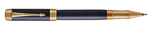 Duofold Prestige Blue Rollerball Pen With Chevron Pattern & Gold Trim Fine Point