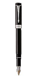 Duofold Classic Black Fountain Pen With Chrome Trim Medium Nib