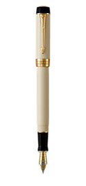 Duofold Classic Ivory & Black Fountain Pen With Gold Trim Medium Nib