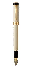 Duofold Classic Ivory & Black Fountain Pen With Gold Trim Medium Nib