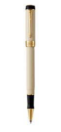 Duofold Classic Ivory & Black Rollerball Pen With Gold Trim Fine Point