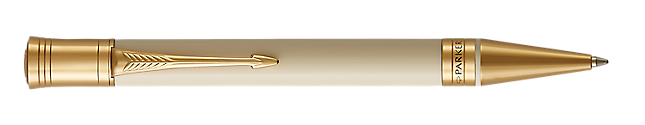 Duofold Classic Ivory & Black Retractable Ballpoint Pen With Gold Trim Medium Point