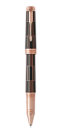 Premier Luxury Brown Rollerball Pen With Pink Gold Trim Fine Point