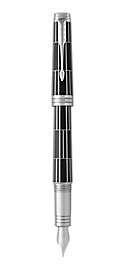 Premier Luxury Black Fountain Pen With Chrome Trim Fine Nib