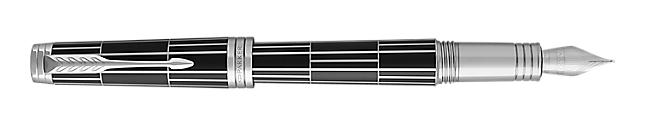 Premier Luxury Black Fountain Pen With Chrome Trim Medium Nib