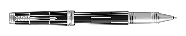 Premier Luxury Black Rollerball Pen With Chrome Trim Fine Point