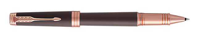 Premier Soft Brown Rollerball Pen With Pink Gold Trim Fine Point