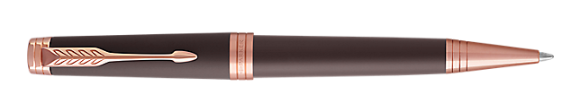 Premier Soft Brown Retractable Ballpoint Pen With Pink Gold Trim Medium Point