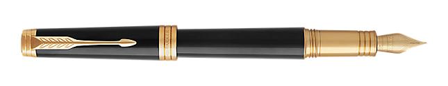 Premier Lacquered Black Fountain Pen With Gold Trim Medium Nib