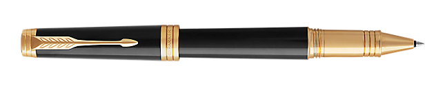 Premier Lacquered Black Rollerball Pen With Gold Trim Fine Point