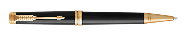 Premier Lacquered Black Retractable Ballpoint Pen With Gold Trim Medium Point