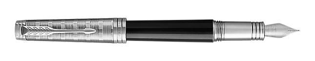 Premier Lacquered Black Fountain Pen With Custom Tartan Pattern & Chrome Trim Fine Nib