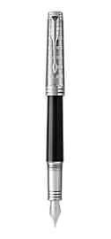 Premier Lacquered Black Fountain Pen With Custom Tartan Pattern & Chrome Trim Medium Nib