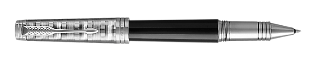 Premier Lacquered Black Rollerball Pen With Custom Tartan Pattern & Chrome Trim Fine Point