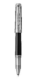 Premier Lacquered Black Rollerball Pen With Custom Tartan Pattern & Chrome Trim Fine Point