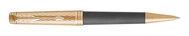 Premier Storm Grey Retractable Ballpoint Pen With 23K Gold Trim Medium Point