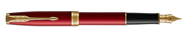 Sonnet Lacquered Red Fountain Pen With Gold Trim Fine Nib