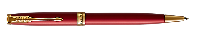Sonnet Lacquered Red Retractable Ballpoint Pen With Gold Trim Medium Point