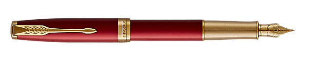 Sonnet Lacquered Red Fountain Pen With Gold Trim Medium Nib
