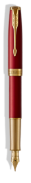 Sonnet Laque Rouge Stylo-plume  (plume or) - Plume moyenne