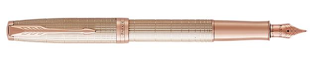 Sonnet Silver Fountain Pen With Ciselé Pattern & Pink Gold Trim Medium Nib