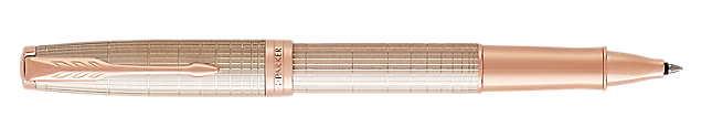 Sonnet Silver Rollerball Pen With Ciselé Pattern & Pink Gold Trim Fine Point