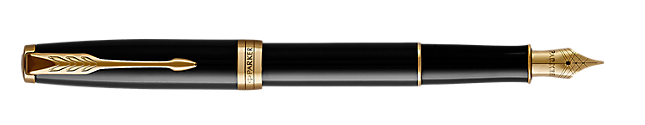 Sonnet Lacquered Black Fountain Pen With Gold Trim Medium Nib