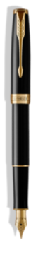 Sonnet Laque Noire Stylo-plume (plume en acier inoxydable) - Plume moyenne