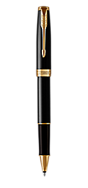 Sonnet Lacquered Black Rollerball Pen With Gold Trim Fine Point