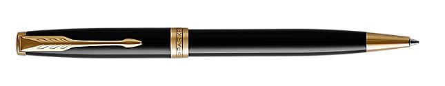 Sonnet Lacquered Black Retractable Ballpoint Pen With Gold Trim Medium Point