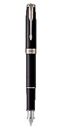 Sonnet Lacquered Black Fountain Pen With Chrome Trim Fine Nib