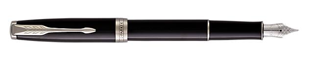 Sonnet Lacquered Black Fountain Pen With Chrome Trim Medium Nib