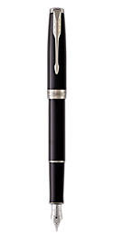 Sonnet Lacquered Black Fountain Pen With Chrome Trim Medium Nib