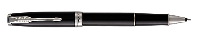 Sonnet Lacquered Black Rollerball Pen With Chrome Trim Fine Point