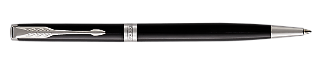 Sonnet Lacquered Black Retractable Ballpoint Pen With Chrome Trim Medium Point