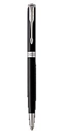 Sonnet Lacquered Black Retractable Ballpoint Pen With Chrome Trim Medium Point