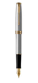 Sonnet Stainless Steel Fountain Pen With Gold Trim Medium Nib