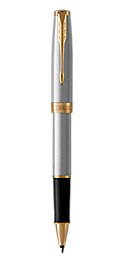 Sonnet Stainless Steel Rollerball Pen With Gold Trim Fine Point