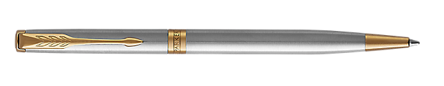 Sonnet Stainless Steel Retractable Ballpoint Pen With Gold Trim Medium Point