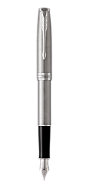 Sonnet Stainless Steel Fountain Pen With Chrome Trim Medium Nib