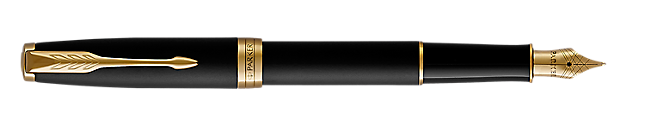 Sonnet Matte Lacquered Black Fountain Pen With Gold Trim Medium Nib