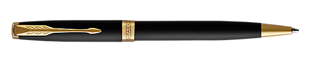 Sonnet Matte Lacquered Black Retractable Ballpoint Pen With Gold Trim Medium Point