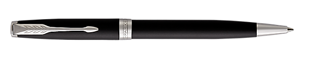 Sonnet Matte Lacquered Black Retractable Ballpoint Pen With Chrome Trim Medium Point