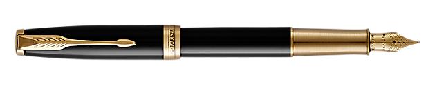 Sonnet Lacquered Black Fountain Pen With Gold Trim Medium Nib
