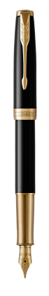 Image for Sonnet Black Lacquer Fountain pen  (gold nib) - Medium nib from Parker UK