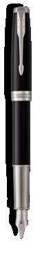 Sonnet Laque Noire Stylo-plume  (plume or) - Plume moyenne